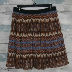 Ruby Rd. Lined Tribal Patterned Skirt - B39